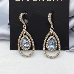 Givenchy Crystal Earrings - Gold Tone Grayish Blue